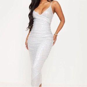 Shape Silver Sequin Dress- Silver